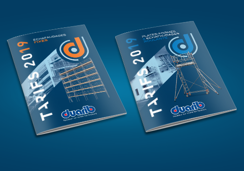 Editions 2019 des catalogues tarifs duarib pour échafaudages et plateformes